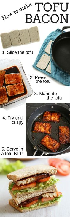How to make tofu bacon - this stuff is SO good! Smoky, spicy, sticky, sweet... and it's easy to make too! Perfect served in a classic BLT sandwich :) PLUS it's vegan and gluten-free!