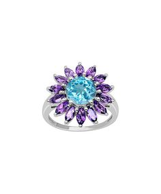 Another great find on #zulily! Blue Topaz & Amethyst Round & Marquise-Cut Ring #zulilyfinds