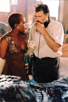 Jonathan Frakes and Alfre Woodard on the set of Star Trek: First Contact, 1996.