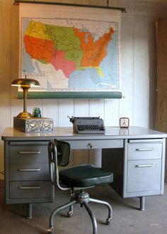 Vintage Tanker Desk Steelcase Mid-Century.  Mine is a sage green with swirled green/white Formica top. Has a few dings and scratches, but I REFUSE to get rid of it! Thinking of repainting it...before it goes in the new house!