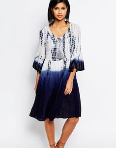 French Connection Holiday Wave Smock Dress in Tie Dye
