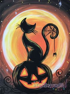 winter themed paint and sip Art Halloween, Halloween Painting, Halloween Canvas Paintings, Fall Paintings, Halloween Drawings, Halloween Things To Draw, Halloween Pictures To Draw, Easy Acrylic Paintings, Happy Halloween