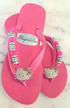 Pink Hello Kitty flip flops by Flipinista Flip Flop Sandals, Flip Flops, Wonderful Day, Hello Kitty Items, Hello Kitty Collection, Womens Shoes Wedges, Girly Things, Me Too Shoes, Shoe Boots