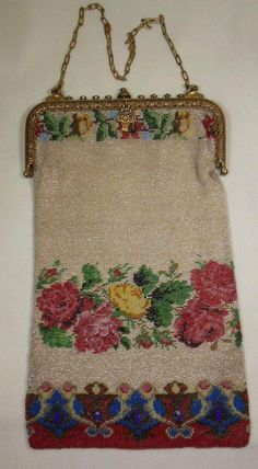 From Gillian has on offer this beautiful early 20th Century beaded purse. Beaded in roses and decorative border to the bottom. Pinks, Red, yellow