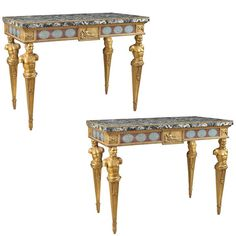 Very Fine Pair of Roman Painted and Giltwood Console Tables 1