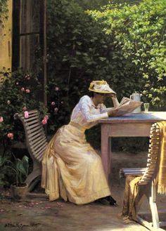 Lady Reading in the Garden (1894). Niels Frederik Schiøttz-Jensen (Danish, 1855-1941). Oil on canvas.