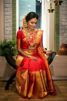 101 Trendy Bridal Silk Sarees worn by Real Brides. South Indian Wedding Saree, Indian Bridal Sarees, Wedding Silk Saree, South Indian Weddings, South Indian Bride, Indian Wedding Outfits, Tamil Wedding, Bridal Sari, India Wedding