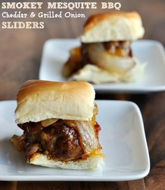 These smokey mesquite BBQ cheddar & grilled onion sliders are delicious morsels of flavor to put out during halftime. Tip make a lot of them, they go quick with hungry guys around!  #superbowl #appetizer.