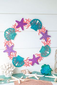 Time to get the Summer projects started with this mermaid craft! I created a mermaid inspired wreath perfect for any mermaid theme room or party! Mermaid Crafts, Mermaid Diy, Crafts To Make, Crafts For Kids, Diy Crafts, Burlap Crafts, Mermaid Party Decorations, Mermaid Theme Birthday, Glitter Crafts