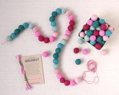 Felt Pom-Poms // Valentine Sweetheart Garland Kit by BenzieDesign Pink Crafts, Felt Crafts, Bunting Garland, Buntings, Teething Beads, Felt Ball, Craft Kits, Craft Supplies, Craft Ideas
