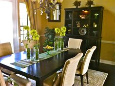 Brown, cream and green dining room.