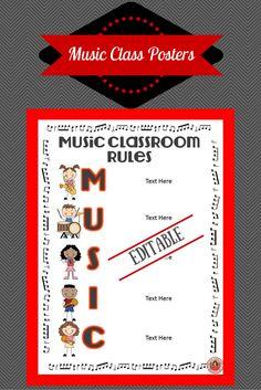 ♫ EDITABLE ♫ Music Class Rules Posters!! Preview LINK - https://www.teacherspayteachers.com/Product/Music-Class-Rules-EDITABLE-Posters-1392099