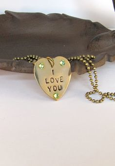 Hand stamped I Love You necklace, Mothersday, vintage style