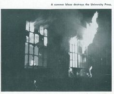 A fire destroys much of the campus warehouse and the University Press 1947. From the 1947 Oregana (University of Oregon yearbook). www.CampusAttic.com