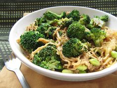 sesame soy spaghetti squash with broccoli and edamame, yum!