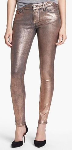 Paige Denim 'Verdugo' Metallic Ultra Skinny Jeans (Rose Gold) available at Nordstrom Nordstrom Jeans, Estilo Fashion, Paige Denim, Pretty Outfits, Fashion Outfits, Womens Fashion, Luxury Fashion, Passion For Fashion, Dress To Impress