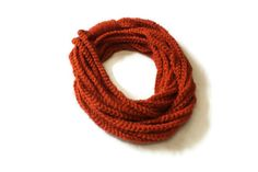Orange Crocheted Infinity Scarf Cowl Chain Necklace by makinitmama, $15.00
