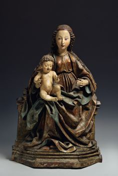 Circle of Michel Erhart, Ulm, ca. 1490, Virgin Mary with the Infant Jesus on a throne, lime wood, painted and gilded.