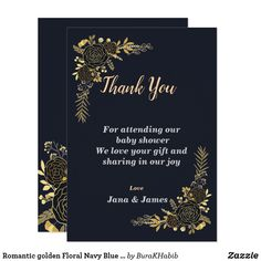 Romantic golden Floral Navy Blue thank you card Invitation Cards, Wedding Invitations, Baby Shower Thank You Cards, Navy Blue, Purple, Napkin, Your Cards, Babyshower, Rsvp