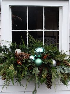 Yuletide Window box Christmas decoration planter - faux snowballs, over-sized pine cones, curly willow, and fresh greenery for Garage Window.