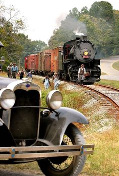 Train, locomotive, on rails, steam, smoke, oldsmobile, transportation, photograph, photo