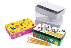 White Cardboard Pencil Boxes - Set of 12