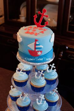 Ahoy it's a Boy baby shower cake and cupcakes. Diane Burke, Diane's Sweet Treats, CT