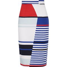 Milly Marina striped stretch-cotton pencil skirt (15.315 RUB) ❤ liked on Polyvore featuring skirts, bottoms, юбки, faldas, saias, white, print skirt, white summer skirts, patterned pencil skirt and knee length pencil skirt