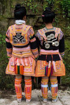 China | Back details of the traditional Kazhai (Maio) style costume. Kazhai village, Guizhou | ©Rita Willaert