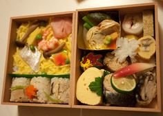 This elaborate bento for two was purchased at Kyoto Station. It cost 3200 yen or so, but was worth it I think - it was so beautiful and delicious.