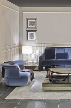 Living room set  with Sabrina Maxi seating system by Fendi Casa, 2014 Collection, Luxury Living Group