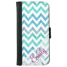 Monogram Summer Sea Teal Turquoise Glitter Chevron iPhone 6 Wallet Case