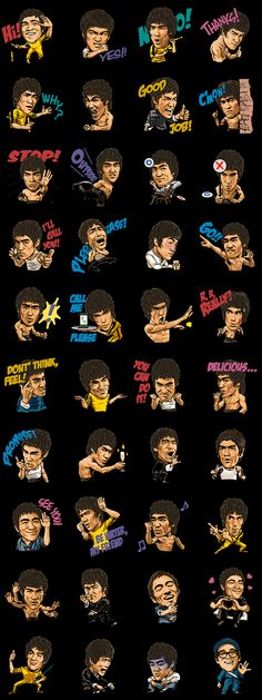 World-famous martial arts superstar Bruce Lee stickers are now available on LINE! This set offers a variety of poses that are guaranteed to give your chats some extra punch. Emoji Stickers, Love Stickers, Ashley I, Nothing To Fear, Bruce Lee, Washi Tape, Martial Arts, Line, Windows Phone