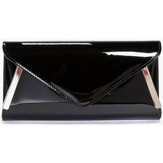 Boohoo Amy Metal Detail Patent Envelope Clutch Bag (£15) ❤ liked on Polyvore featuring bags, handbags, clutches, black, crossbody handbag, party clutches, crossbody purse, backpack crossbody and back pack purse