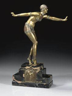 A DEMETRE CHIPARUS    'PHOENICIAN DANCER', A PATINATED AND COLD-PAINTED BRONZE FIGURE, CIRCA 1925 A