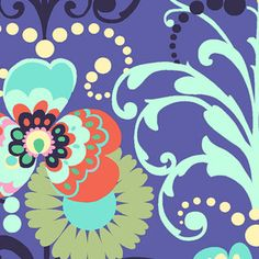 Designer: Amy Butler  Collection: Love  Print Name: Paradise Garden in Periwinkle