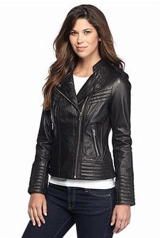 723641cc67bf MICHAEL Michael Kors Leather Asymmetrical Zip Moto Jacket