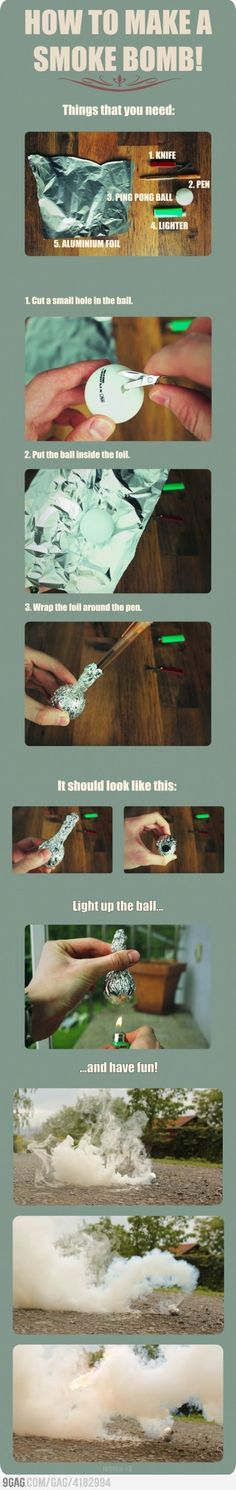 How to make a smoke bomb.