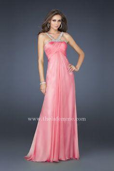 La Femme 17452 Pink Embellished Halter V-Neck Floor Length Prom Dresses [La Femme 17452] - $171.00 : The La Femme | La Femme Dresses | Cheap La Femme