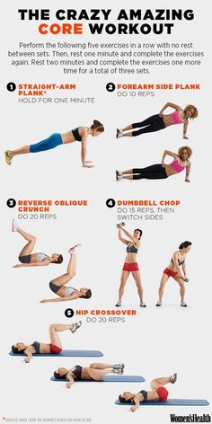 The Crazy Amazing Core Workout ~ These 5 Moves Will Make You Look Flat-Bellied from Every Angle - Women's Health Magazine Yoga Fitness, Fitness Tips, Ballet Fitness, Women's Health Fitness, Workout Fitness, Fitness Watch, Abs Workout Video, Bodyweight Ab Workout, Cardio Hiit