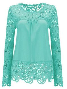 Cheap blouses plus, Buy Quality feminine blouses directly from China blouse women Suppliers: 2017 Plus Size Ladies Blusas Women's Long Sleeve Chiffon Lace Crochet Tops Blouses Women Clothing Feminine Blouse 21 colors Vestidos Chiffon, White Lace Blouse, Sheer Blouse, Lace Outfit, Crochet Blouse, Crochet Tops, Crochet Lace, Sexy Shirts, Pink Shirts
