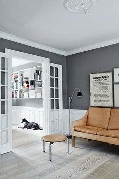 Bestlite BL3 floor lamp by Robert Dudely Best from GUBI PK33 stool by Poul Kjærholm from Fritz Hansen and 2208 Sofa by Børge Mogensen from fredericka Furniture