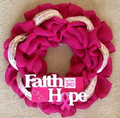 Pink Breast Cancer Awareness Month Burlap Wreath