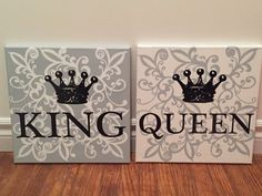 """King &I Queen bedroom wall art Painted 12""""x12"""" canvas with vinyl crown and lettering. Can customize colours, fonts and crowns and background design. Please contact for customization. 