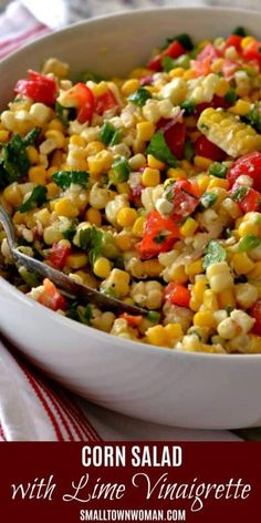 Corn Salad with Easy Lime Vinaigrette is a quick and easy healthy side dish recipe perfect for holiday dinners! This delectable corn salad brings together fresh ingredients and feta cheese in a lightly sweetened lime vinaigrette. Corn Salad Recipes, Corn Salads, Veggie Recipes, Vegetarian Recipes, Cooking Recipes, Healthy Recipes, Corn Salad Recipe Easy, Salads For Bbq, Fresh Corn Recipes