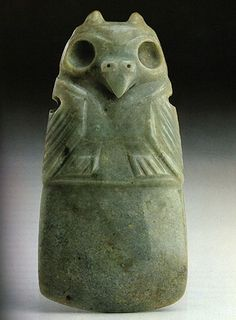 """""""The color green signified rain, maize and growing things. This made the color green sacred to the Olmec."""" [Appears to be a decorated ground stone jade axe head. Ancient Art, Ancient History, Sculpture Art, Sculptures, Mesoamerican, Inca, Effigy, Indigenous Art, Stone Painting"""