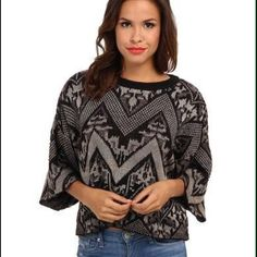 SALE!! NWT Free People sweater SALE!!! NWT Free People gray & black sweater- Size M- gorgeous!!!! Free People Sweaters