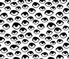I See You - Black and White by Andrea Lauren  fabric by andrea_lauren on Spoonflower - custom fabric