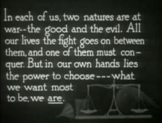 Dr. Jekyll and Mr. Hyde (1920) What does this say about Dr Jekyll?