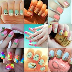 There are some really adorable DIY nail designs on this page!